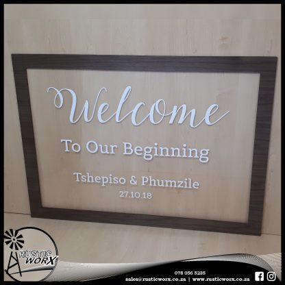 Acrylic Welcome Sign With Vinyl and Frame 180204