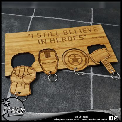Keyring Holder Bamboo Superhero