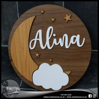 Nursery Sign Walnut Nat Oak and White 10882
