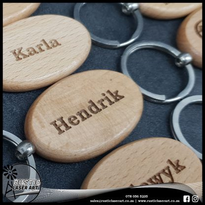 Oval Wooden Keyrings 190439 1