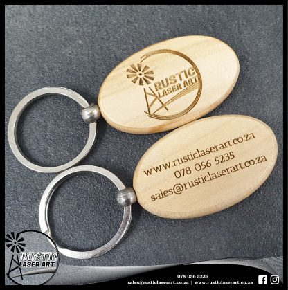 Wooden Oval Keyring RLA Sample