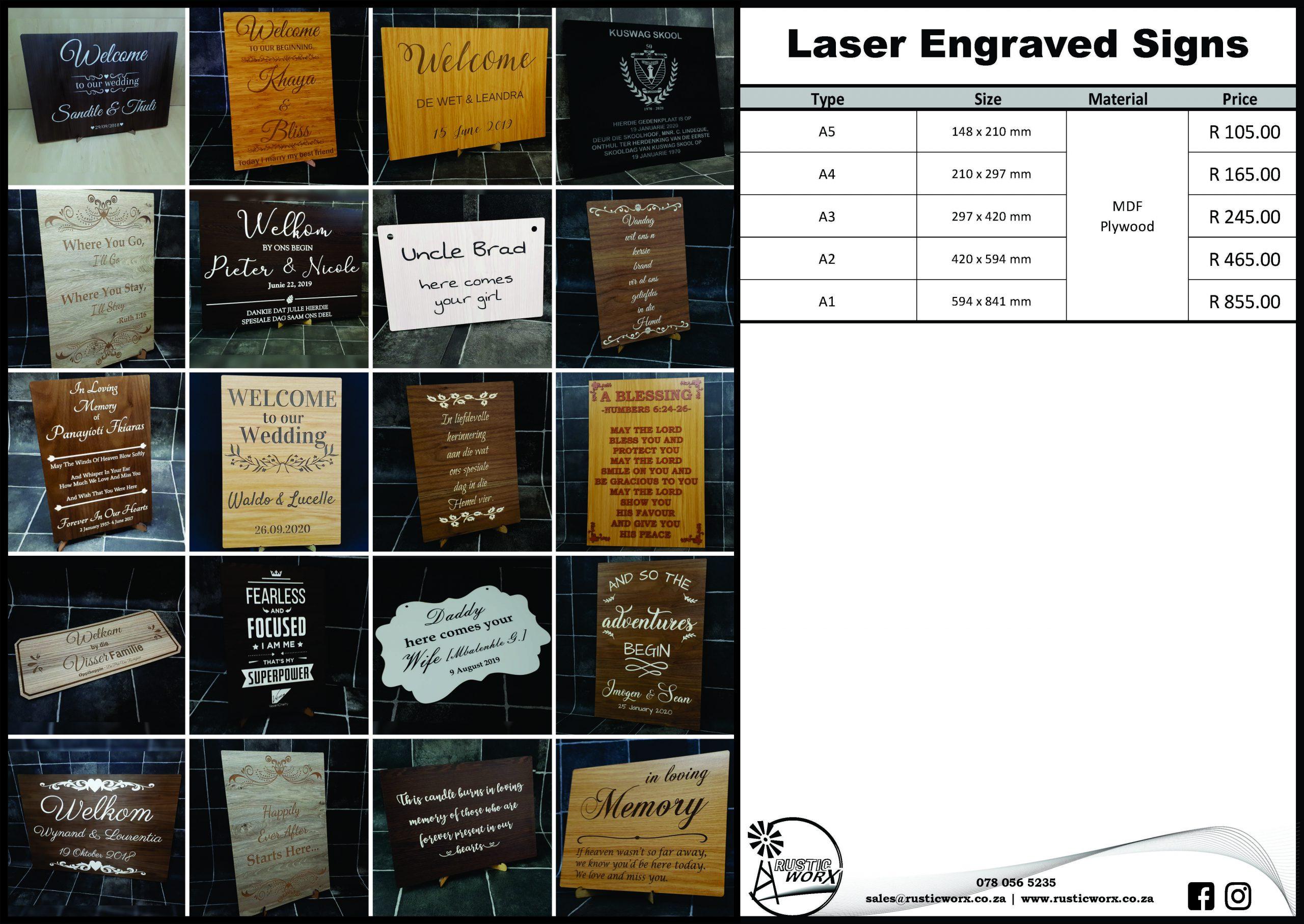 19.2 Signs Laser Engraved