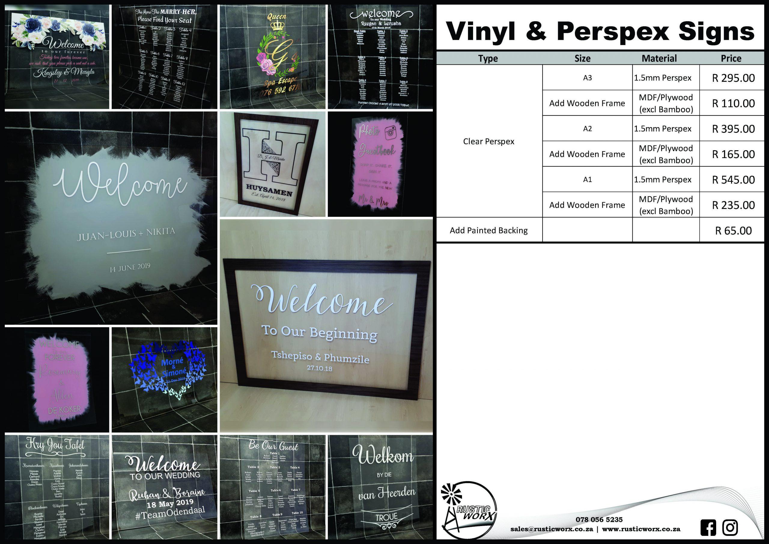 19.5 Signs Vinyl On Perspex Signs