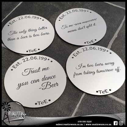 Coasters Brushed Silver 190171