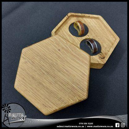 Hardwood Wedding Ring Box Hexagon