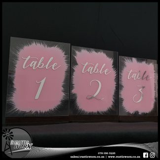Table Numbers A5 Clear Acrylic Chrome Vinyl Painted Backs 200068
