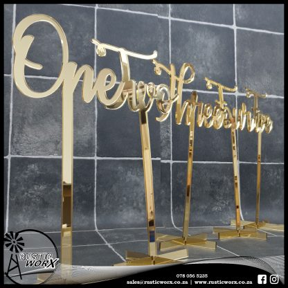 Table Numbers Gold Mirror Acrylic