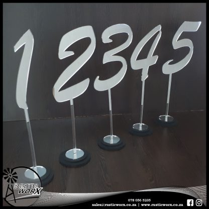 Table Numbers Silver Mirror Acrylic 696