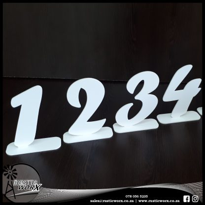 Table Numbers White Acrylic