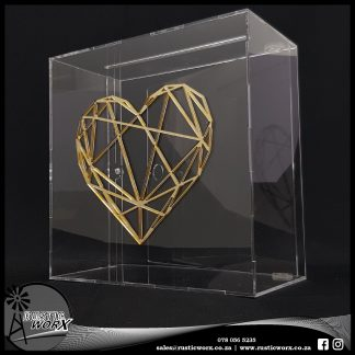 Wedding Mail Box Type 3 Clear Acrylic and Gold Mirror Heart Shindig